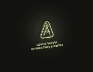 3d tan furniture school logo on black backgroun