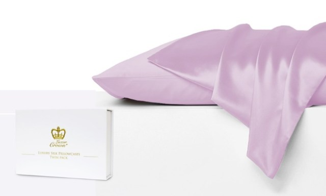 $34 for a Two Pack of 100% Pure Mulberry Silk Front Pillowcases in Choice of Colours (Dont Pay $229)