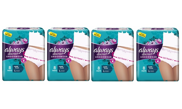 Always Discreet Women's Incontinence Underwear: Four Packs ($24) or Eight Packs ($44) (Don't Pay Up to $159.92)