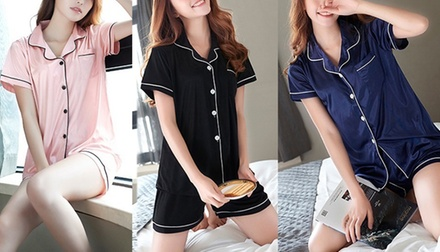 Womens Satin Piped Pyjamas: One ($15) or Two ($25) Sets
