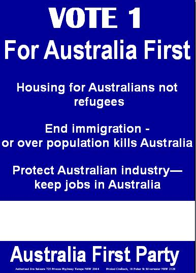 AF Corflute - Housing for Australians not refugees 20100713