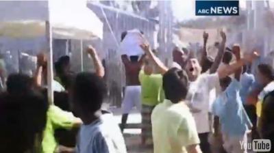 Arab illegals rioting on Manus Island