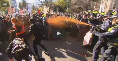 Lefty Anarchists forced back by Police