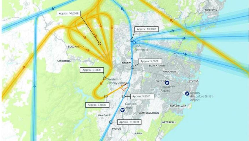 Badgerys Creek flightpaths over Blue Mountains