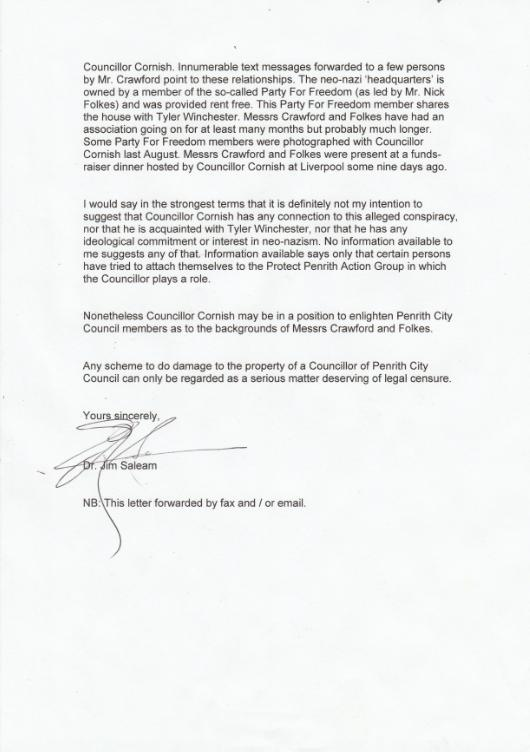 Dr Jim Saleam letter to Penrith Council page 2