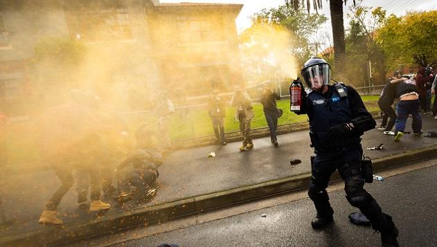 Police disperse the smelly feral anarchists