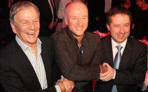 Former foes now friends - Brett Godfrey with former and current Qantas CEOs Geoff Dixon (left) and Alan Joyce (right). (Paul Sadler)