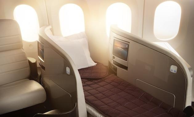 Air New Zealand's 787-9 business class.