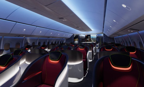 The 777X cabin will leverage off many of the design elements of the 787. (Boeing)