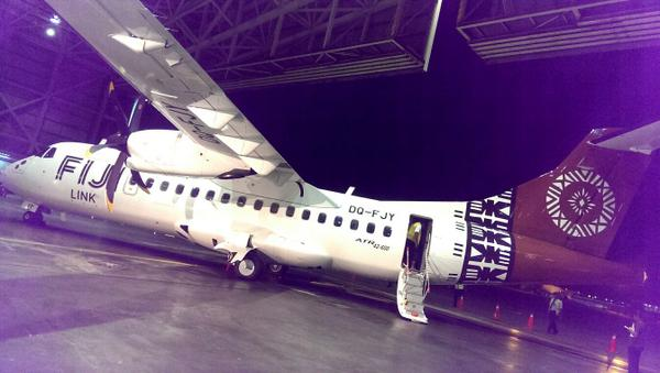 Fiji Link's ATR42-600 in the airline's hangar. (Fiji Airways)