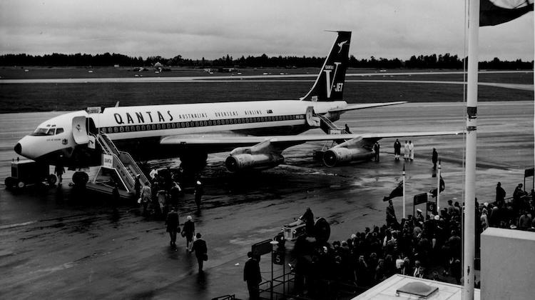 A Boeing 707 used to operate Qantas's first trans-Tasman jet service after landing at Christchurch Airport. (Qantas)
