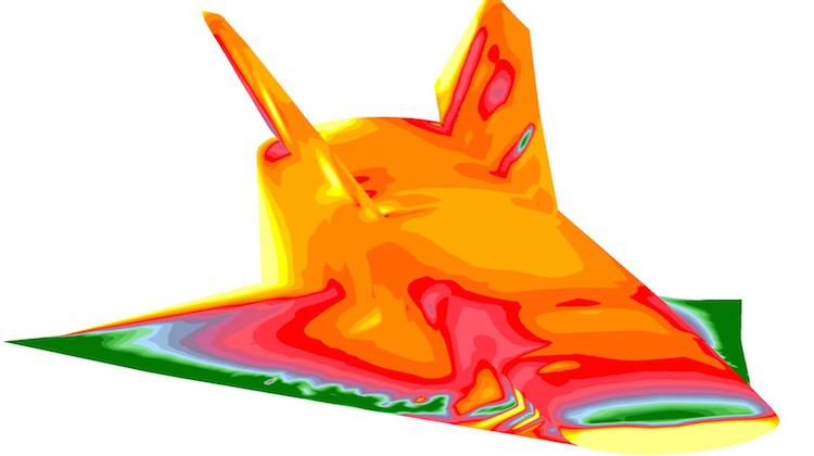 A computational image of coefficient pressure on a hypersonic craft. (University of Sydney)