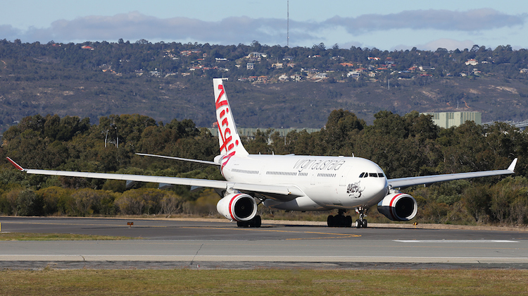 Virgin Australia Airbus A330-200 VH-XFC about to depart Perth Airport for Bali. (Keith Anderson)