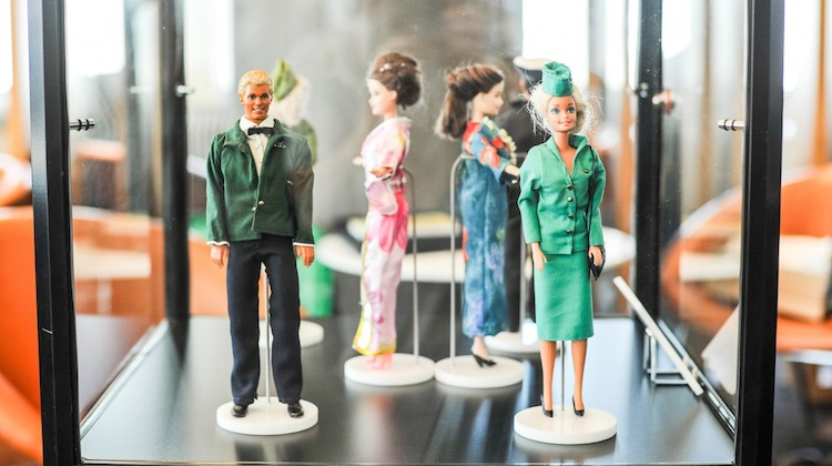 The Qantas Club in Sydney will feature Ken and Barbie modelling the airline's uniforms through the ages. (Qantas)