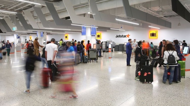 Passengers checking in at Melbourne Tullamarine Terminal 4. (Jetstar)