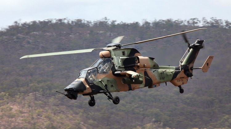 An Australian Regular Army ARH Tiger Helicopter conducts Close Air Support during Exercise BLACK DAGGER in Townsville.