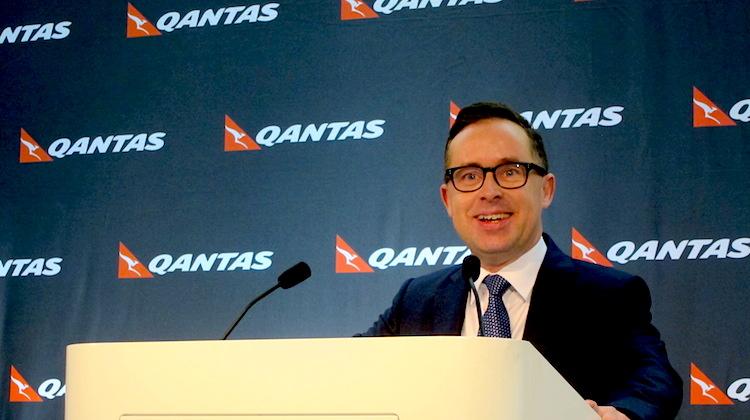 Qantas chief executive Alan Joyce at the airline group's 2015/16 half year results presentation. (Jordan Chong)