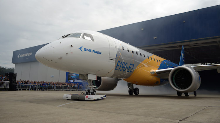 The Embraer E2 jet rolls out of the company's São José dos Campos, Brazil on February 25 2016. (Embraer)