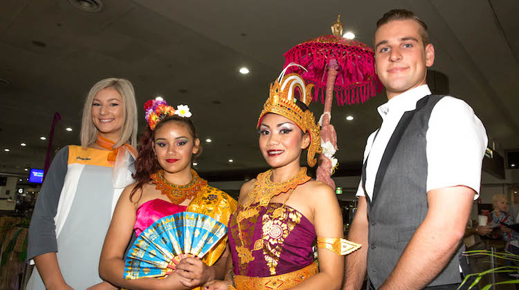 Tigerair Australia cabin crew and Balinese dancers at Melbourne Airport prior to the airline's inaugural flight to Bali. (Tigerair Australia)
