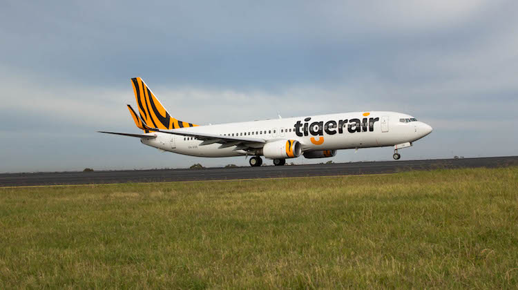 Tigerair Australia Boeing 737-800 VH-VOR operating the airline's inaugural flight Bali. (Tigerair Australia)