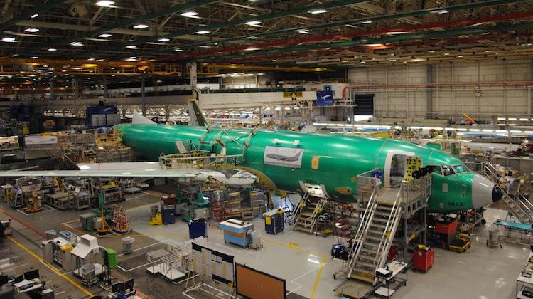 The first RAAA P-8A in production at Boeing's Renton facility. (Boeing)