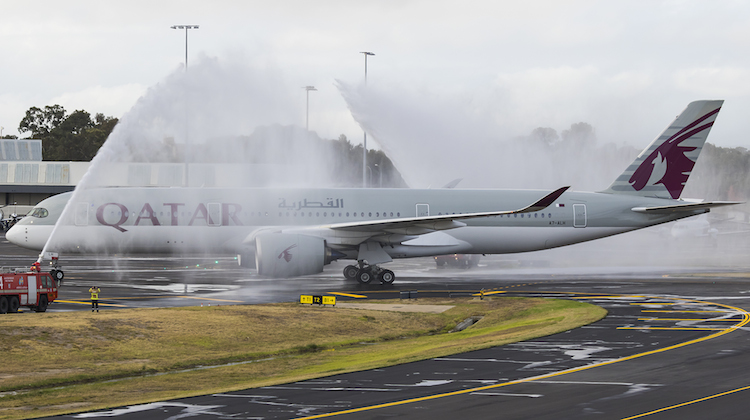 Qatar Airbus A350-900 A7-ALH receives an Airservices ARFF monitor cross after landing at Adelaide Airport. (Seth Jaworski)