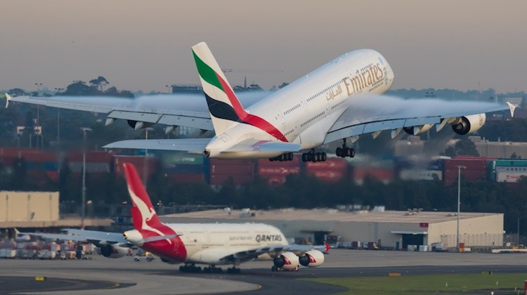 An April 2015 image of Emirates Airbus A380 A6-EEF taking off from Sydney Airport. (Seth Jaworski)