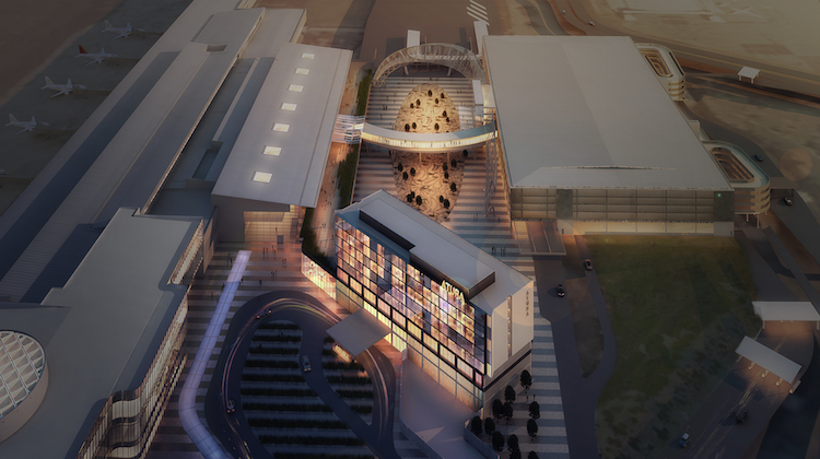 An artist's impression of the proposed hotel at Adelaide Airport. (Adelaide Airport)