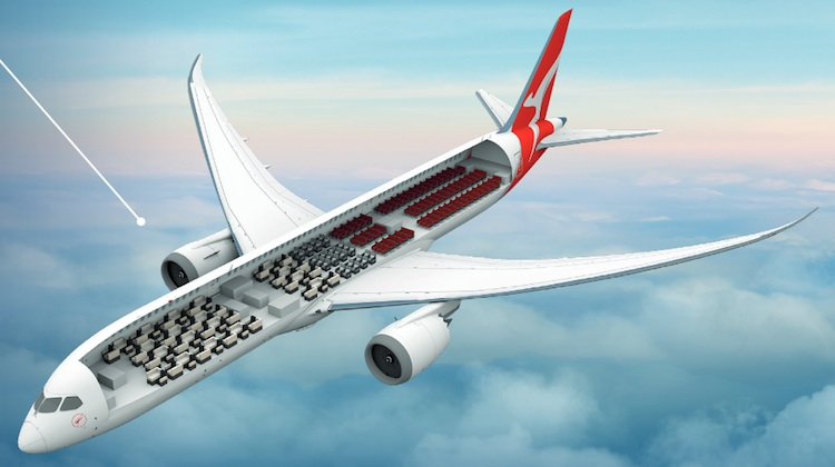 An illustration of Qantas's Boeing 787-9 cabin. (Qantas)