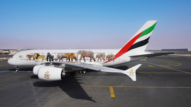 An Airbus A380 supporting the United For Wildlife initiative. (Emirates)