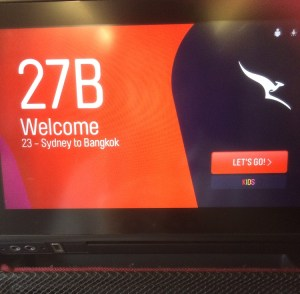 The economy seat-back entertainment screen on the refurbished Qantas A330-300 VH-QPE.