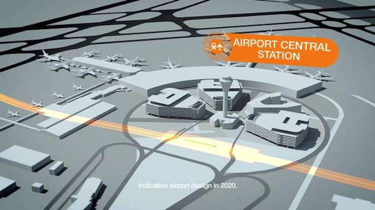 An illustration of where the new station will be situated at Perth Airport. (WA Government/Twitter)