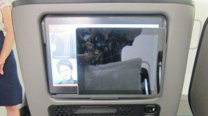 The tablet holder on Qantas's new 787-9 premium economy.