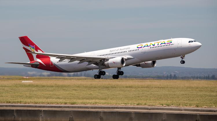 Qantas Airbus A330-300 VH-QPJ featuring Mardi Gras livery takes off as QF433 for Melbourne (Kurt Ams)