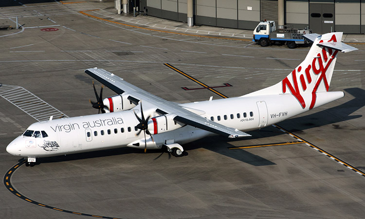 A file image of a Virgin Australia ATR 72 turboprop at Brisbane Airport. (Rob Finlayson)