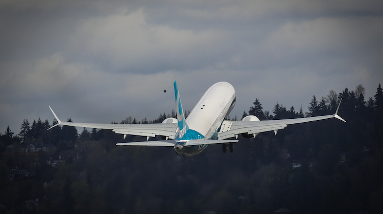 Boeing 737 MAX 9 on its first flight. (Boeing)