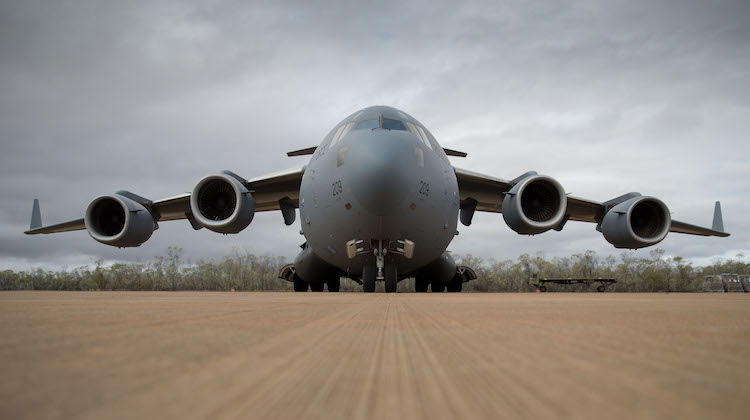 An Australian C-17A Globemaster III aircraft arrives at RAAF Base Curtin in northern Western Australia on 28 August 2016 with two Australian Army S-70 Black Hawk helicopters onboard in preparation for Exercise Northern Shield. (Defence)