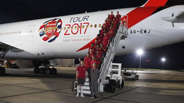 The Arsenal squad ahead of its flight from London to Sydney. (ArsenalFC/Twitter)