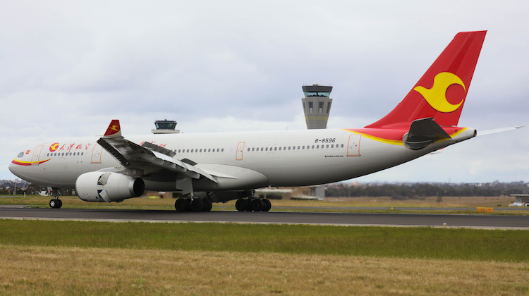 Tianjin Airlines Airbus A330-200 B-8596 arrives at Melbourne. (Victor Pody)