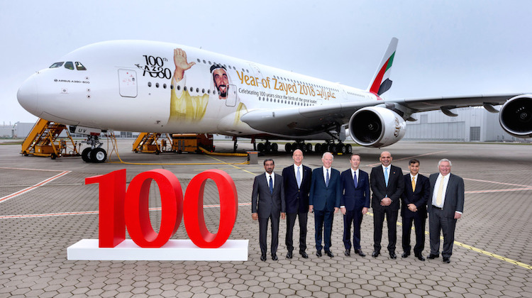 Celebrations at Airbus's Toulouse headquarters as Emirates accepts delivery of 100th A380. (Emirates)