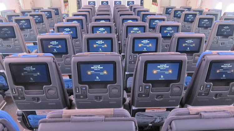 Singapore Airlines new economy class on board Airbus A380 9V-SKU. (Jordan Chong)
