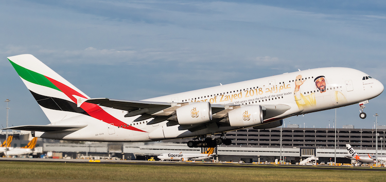 Emirates Airbus A380 A6-EUA takes off from Melbourne on January 10 2018. (Dave Soderstrom)