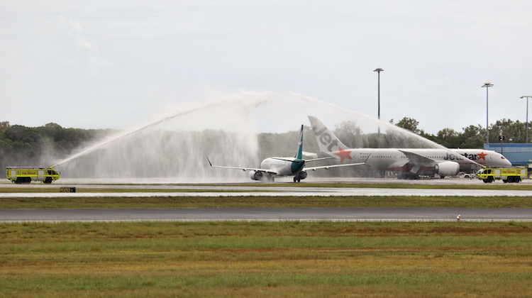 Silkair Boeing 737 MAX 8 9V-MBC is welcomed to Cairns Airport on Monday. (Andrew Belczacki)