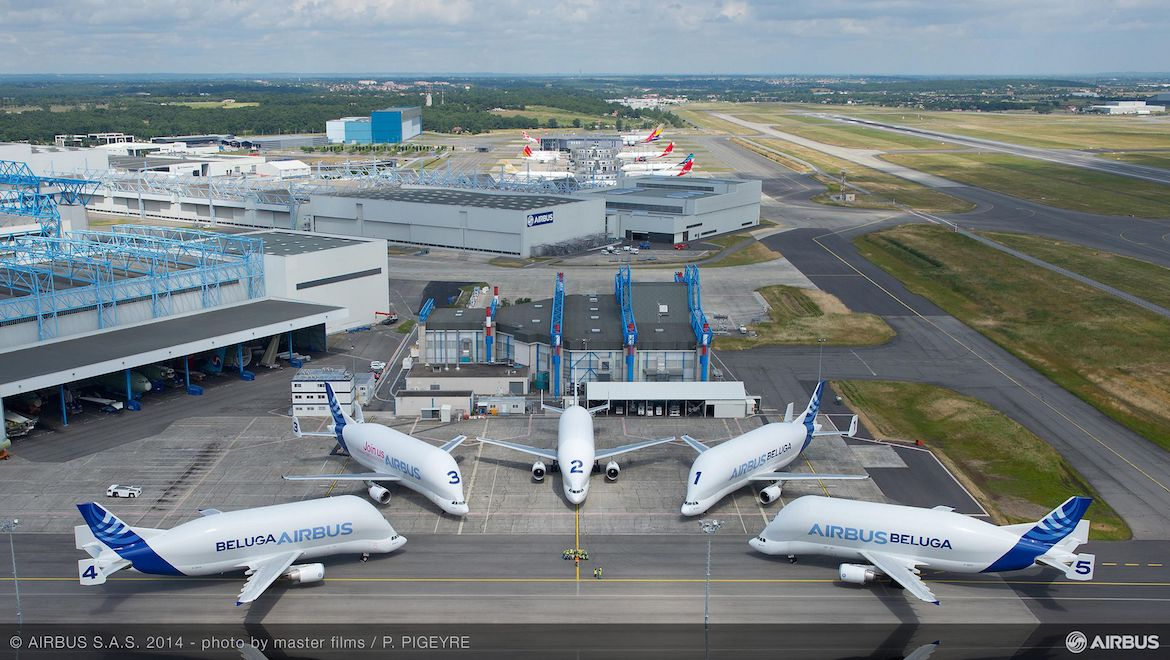 A file image of the five current Airbus BelugaST. (Airbus)