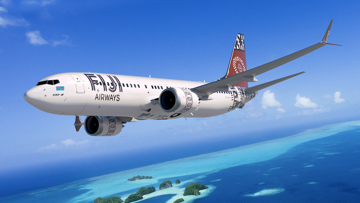An artist's impression of a Boeing 737 MAX 8 in Fiji Airways livery. (Boeing/Fiji Airways)