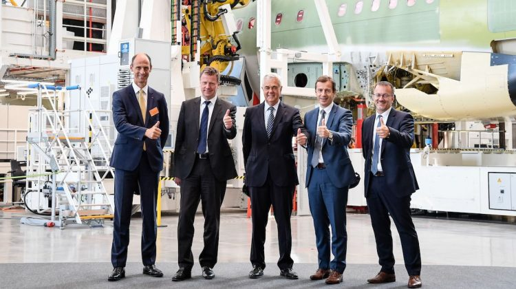From left, Klaus Richter, Head of Airbus Commercial in Germany; Klaus Röwe, Head of A320-Family Programme; Frank Horch, Senator of Economy Hamburg; Guillaume Faury, President Airbus Commercial Aircraft; and Olaf Lawrenz, Head of A320 Family Final Assembly Lines. (Airbus)