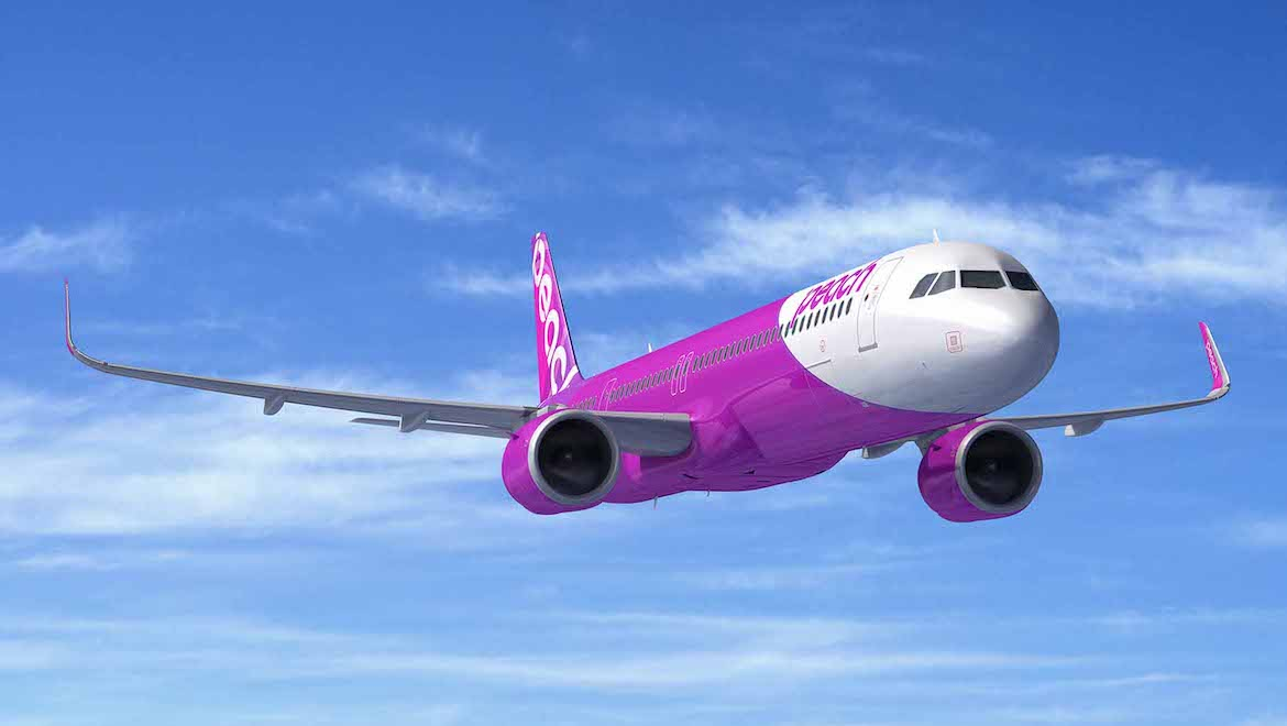 An artist's impression of an Airbus A321neo in Peach livery. (Airbus)