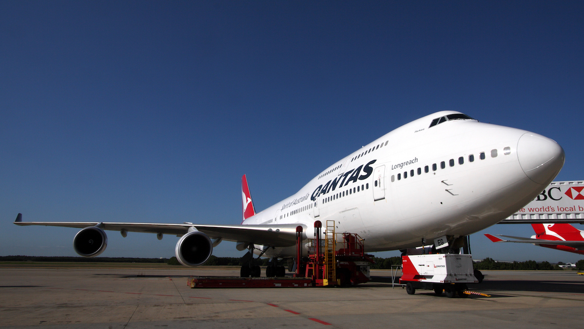 A Qantas Boeing 747-400ER on the ramp at Brisbane Airport. (Rob Finlayson)