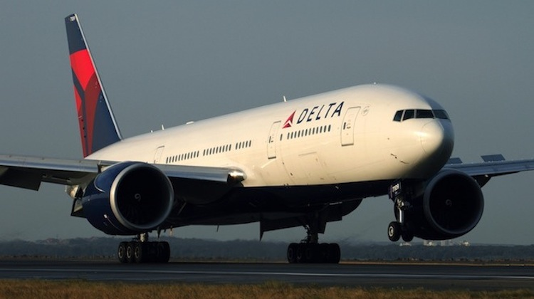 A Delta Air Lines Boeing 777-200LR at Sydney Airport. (Rob Finlayson)