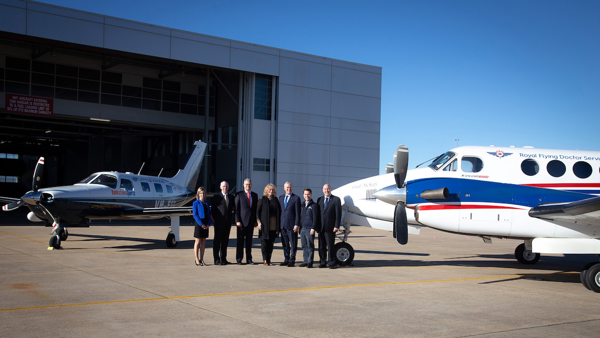 Deputy Prime Minister Michael McCormack with representatives of five aeromedical operators and Airservices. (Minister's Office)